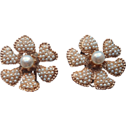 HAR Signed Vintage Faux Pearl Earrings Flower Form Clip