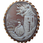 Antique Cameo Pin Pendant Scenic w Woman At Well House