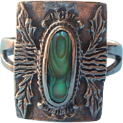 Vintage Sterling Silver Abalone Ring Tree Trunks Leaves Motifs