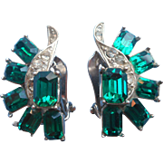 Vintage Earrings Faux Emerald Glass Stones Wiesner Signed Rhinestone Clip