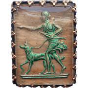 1920s Intaglio Pin Reverse Painted Diana The Huntress Green