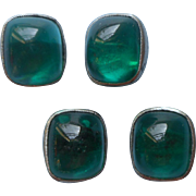 Vintage Gripoix Glass Buttons Emerald Green Bullet Cabochons