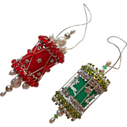 Vintage Christmas Tree Ornaments Bead Sequin Red Green Silver Drum Lantern