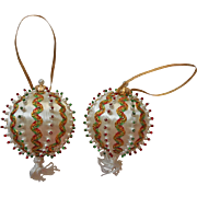 Vintage Christmas Tree Ornaments Bead Metallic Ric Rac Red Green White Faux Pearl Beads