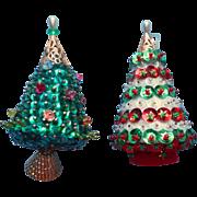 Vintage Christmas Tree Ornaments Bead Sequin Tree Form