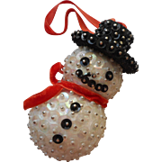Vintage Christmas Tree Ornament Bead Sequin Pin Snowman Beads Sequins