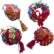 Vintage Christmas Tree Ornaments Bead Sequin Red Gold Multi Some TLC
