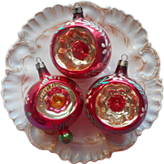 Vintage Glass Christmas Tree Ornaments Indents 3 Pink Gold