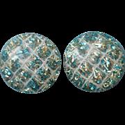 Vintage Confetti Lucite Large Clip Earrings Blue Silver