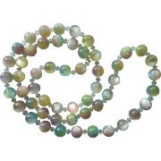 Moonglow Lucite Beads Glass Necklace Vintage Pastel Pink Blue Yellow