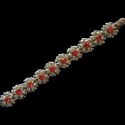 Vintage Pink Rhinestone Flower Links Bracelet