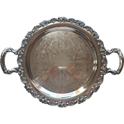Roses Ornate Rim Handles Vintage Silver Plated Tray