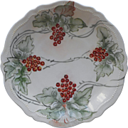 Antique Christmas Colors Hand Painted China Plate Currants Berries