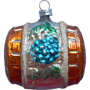 Vintage Glass Christmas Tree Ornament Wine Barrel Cask Grapes.