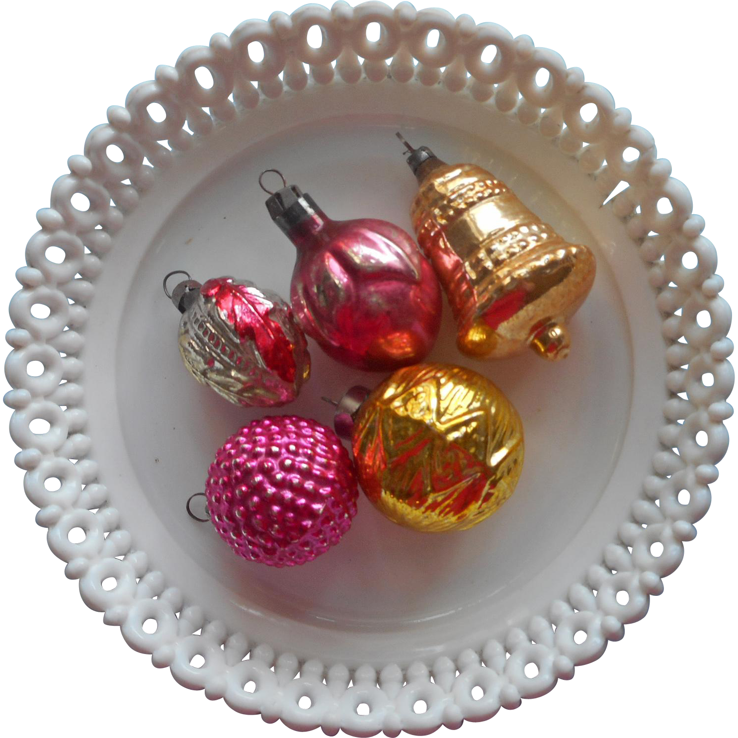 Vintage Glass Christmas Ornaments Small Blown Into Mold Berries Bell Etc