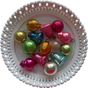 Tiny Vintage Glass Christmas Ornaments For Feather Tree Package Trim