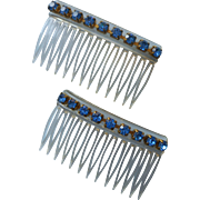 Vintage Hair Combs Blue Rhinestones Small Side Combs