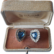 1960s Clip Earrings Blue Glass Hearts Rhinestones Heart Silver Tone Metal