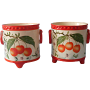 Pair Erphila Czechoslovakia Jars Jar Pots Pot Ornage Cherries Hand Painted China
