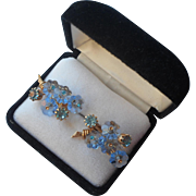 Vintage Vendome Earrings Blue Aqua Glass Flowers Margarita TLC