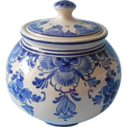 Royal Delft Jar Sugar Bowl Holland Vintage Hand Painted Blue Cream