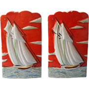 Wall Pockets Pair Art Deco Japan Sailboats Vintage Vivid Hand Painted China