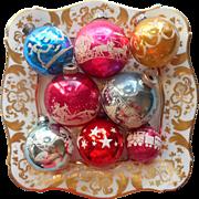 Vintage Glass Christmas Tree Ornaments 8 All Stencils Stencil Shiny Brite USA