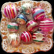 Vintage Glass Christmas Tree Ornaments 10 All Stripes Shiny Brite USA