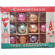 Vintage Glass Christmas Tree Ornaments Poland 9 Original Box