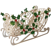 1960s Plastic Sleigh Christmas Decoration Vintage Holly Treats Basket