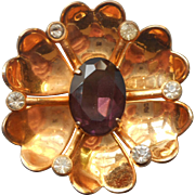 1940s Vermeil Pin Flower Form Purple Glass Stone Faux Amethyst