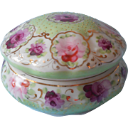 Nippon Powder Trinket Box Antique China Pink Green Purple Gold