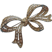 1930s Rhinestone Bow Vintage Pin Brooch Art Deco