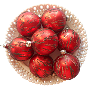 Vintage Glass Christmas Tree Ornaments Red West Germany Glitter Streaks