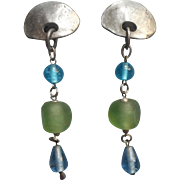 1980s Earrings Long Big Silver Tone Beach Glass Colors Glass Blue Green