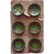 Antique Buttons Celluloid Sheeting Set 6 Coat Buttons