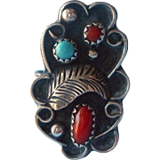 Vintage Sterling Silver Turquoise Coral Ring Native American