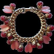 Thermoset Art Glass Pink Dangles Vintage Bracelet Raspberry