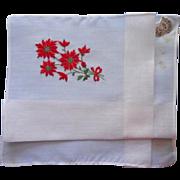 Vintage Hankie Christmas Original Desco Label Poinsettias Embroidery TLC