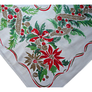 Vintage 1950s Tablecloth Christmas Print Printed Kitchen