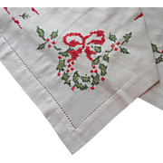 Vintage Square Christmas Tablecloth Cross Stitched Hand Embroidery Red Green White