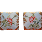Antique Cuff Buttons Hand Painted China Porcelain Roses Pink Gold