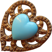 Antique Brass Glass Turquoise Blue Heart Ornament Was a Pin TLC