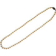 Cultured Pearls Vintage Necklace 5 mm Sterling Silver Clasp 17 Inches