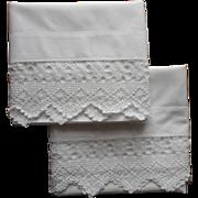 Antique Pillowcases Unused Pair Heavy Crocheted Lace Trim