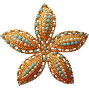 Vintage 1968 Pin Starfish Ocean Star Sarah Coventry Faux Turquoise Faux Seed Pearls