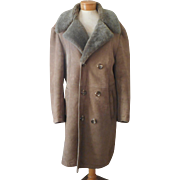 1970s Men's Shearling Coat Vintage Three Quarter Length Flah's Boutique