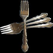 Dover Vintage Stainless Steel 4 Salad Forks Oneida Cube