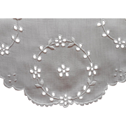 Antique Cutwork Linen Oval Tray Doily 1910s Hand Embroidered