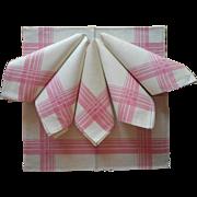 ca 1920 Pink Borders Linen Damask Luncheon Napkins Unused Set 6